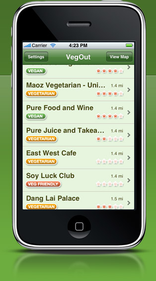 VegOut for iPhone